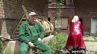 Sexy German Granny seducing a farmer