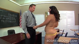 Fat ass girl seduces the teacher for his big dick