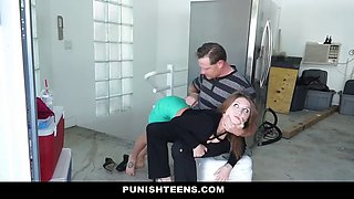 tiny slut daughter home late punished