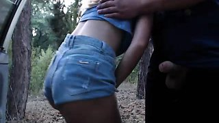 Wild blonde with a perfect ass sucks a dick in the outdoors