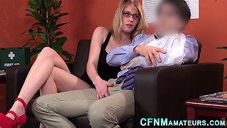 cfnm amateur in glasses