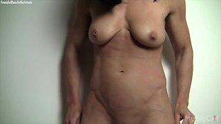 Naked Female Bodybuilder and Her Big Clit