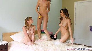 Lesbian trio having fun