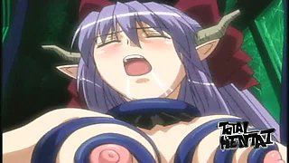 Magic hottie gonna please wet pussy of charming hentai elf with big tits