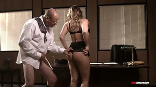 Nerd boss fucks sex-appeal and insatiable secretary Angelica Raven