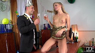 Beautiful Cherry Jul gets surprised with a big load of cock