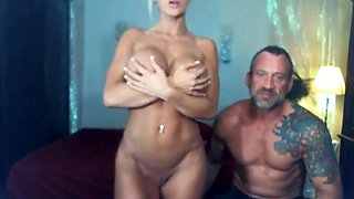 Busty blonde milf with pierced nipples rides on cock