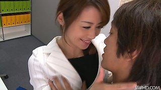 Japanese slutty secretary seduces her boss desiring to get poked