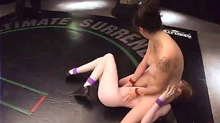 couple of slutty bitches wrestling naked