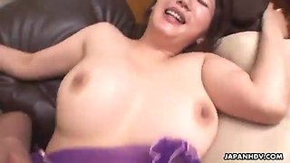 Hot japanese housewife with big tits rides a hard cock