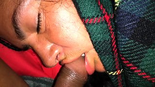 Sleeping ebony wife has a black cock roaming around her lips