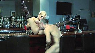 tattooed pornstar in stockings face fucked in the bar