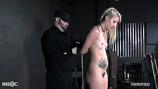 Blonde babe with a pierced pussy Sophia Grace ball gagged and abused