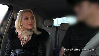 Blonde deep throats fake cops big cock in car