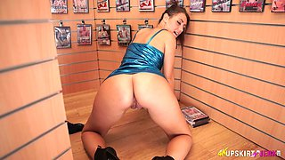 English slutty stripper Jess West exposes her thighs and nice bum