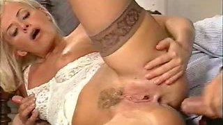 Hot italian milf enjoys double penetration by two guys