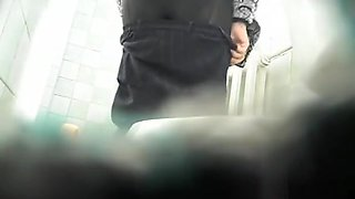 Mature woman spits and pees in toilet