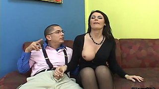 A horny nerd and a muscular guy double penetrate the hot milf